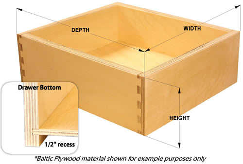 drawer box sizes